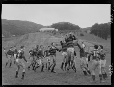 Image: Poneke versus Athletic rugby teams at Martin Luckie Park, Berhampore, Wellington