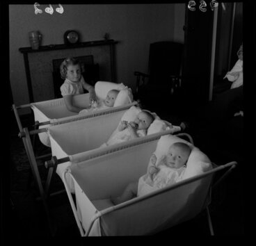 Image: Cheryl Payne with triplets of her mother Mrs W J Payne