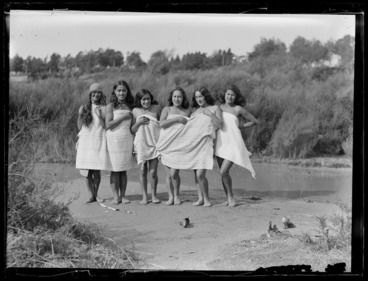 Image: A group of Maori women bathing at the river, Waikato