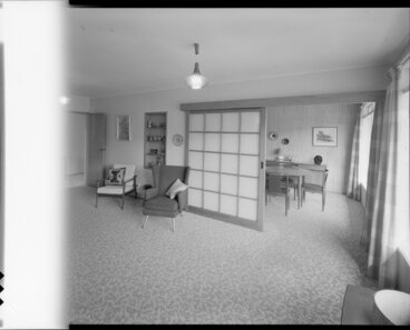 Image: Living room and dining room, probably Cook house, 16 Orr Crescent, Epuni, Lower Hutt
