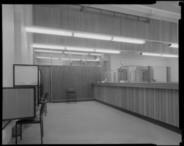 Image: Bank of New Souith Wales, Waipukurau, interior with tellers counter