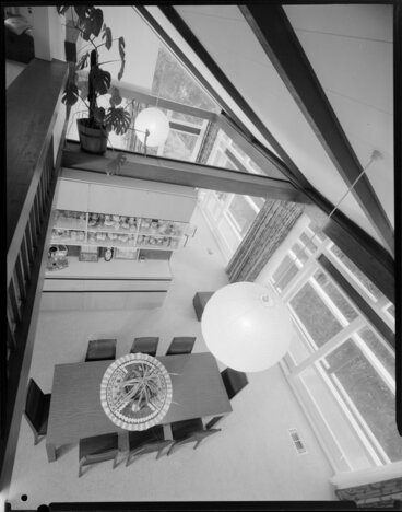 Image: Dining room of Wong house, from upstairs