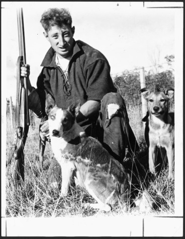 Image: Author Barry Crump, while rabbitting at Reporoa