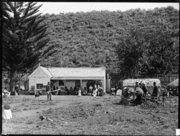 Image: Powhiri for Governor Sir William Jervois, Lady Jervois, and party, at Kawhia, by chiefs of Ngati Hikairo, and Tetahi Rahi and Tiki Taimana