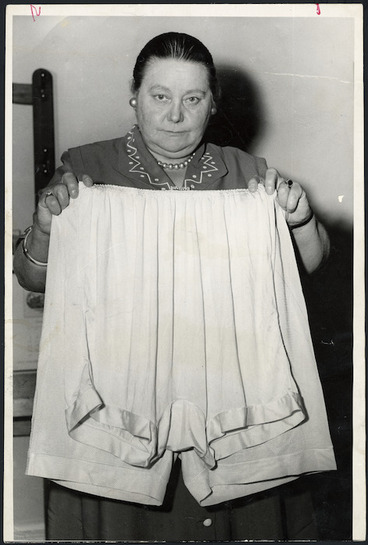 Image: Member of Parliament, Mabel Howard, demonstrating that oversize bloomers vary in size
