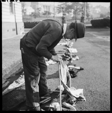 Image: Preparing flags for VE day in Wellington