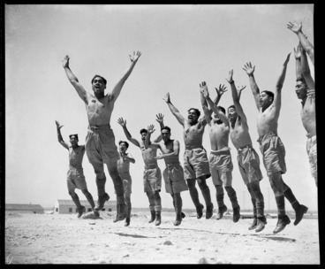 Image: Members of the Maori Battalion performing a haka, Maadi, Egypt