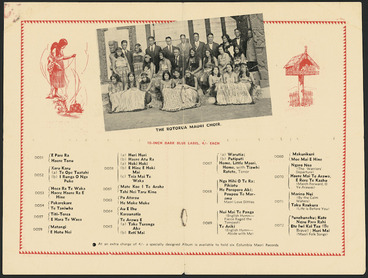 Image: Columbia Graphophone (Australia) Ltd :The Rotorua Maori Choir. 10-inch dark blue label, 4/- each [1930]