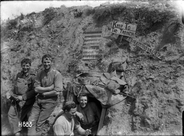 Image: New Zealand soldiers with the 'Cannibals Paradise' sign in World War I, France