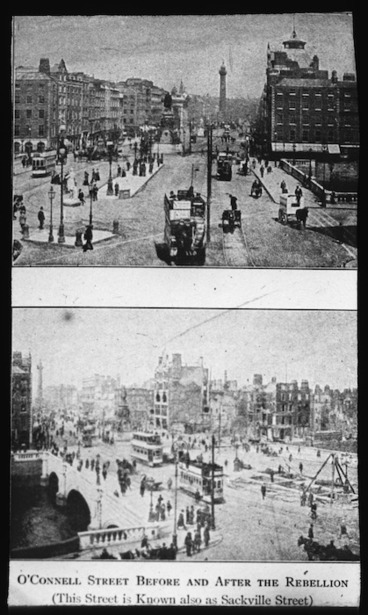 Image: O'Connell Street before and after the rebellion