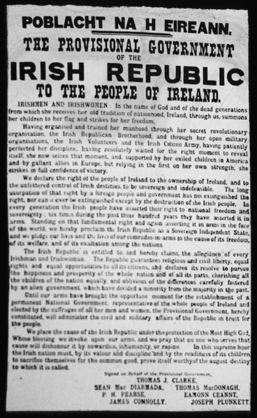 Image: Poblacht Na H Eireann; the Provisional Government of the Irish Republic to the people of Ireland