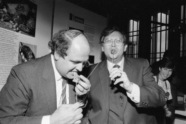Image: David Lange and Mike Moore eating lamb kebabs - Photograph taken by John Nicholson