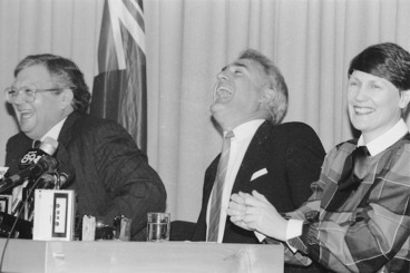 Image: David Lange, Geoffrey Palmer and Helen Clark at a press conference
