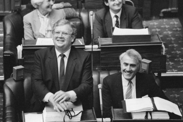 Image: David Lange and new Prime Minister Geoffrey Palmer - Photograph taken by Ray Pigney
