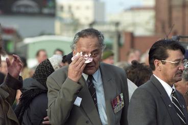 Image: Tom Tuhiwai at the powhiri for Vietnam veterans, Taranaki Street Wharf, Wellington, part of Parade '98 - Photograph taken by John Nicholson