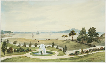 Image: Hoyte, John Barr Clark, 1835-1913 :[Auckland Harbour and Rangitoto Island from the garden of Harry Cobley's house] [1870?]