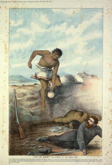 "Image: Wilson & Horton (Firm) :""For his enemy."" - An episode of the Maori War. Wilson & Horton, lith. Auckland, Wilson & Horton, 1895."