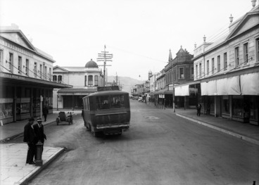 Image: Looking down Jackson Street, Petone, with Stirton's Music Store and the Alexandra Building in the foreground