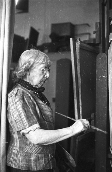 Image: Frances Mary Hodgkins painting in her studio, Corfe Castle, Dorset
