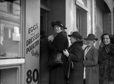 Image: Women queuing for rationed goods during World War 2, outside Salisbury's on Dixon Street, Wellington
