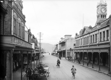 Image: Looking down Jackson Street, Petone, with Mrs C Barlow's Furnishing Warehouse on the left
