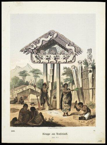 Image: [Heaphy, Charles], 1820-1881 :Gruppe aus Neuseeland. Taf. 27 / C Votteler, lith. Art. Anst. v E. Hochdanz, Stuttg., 1869.