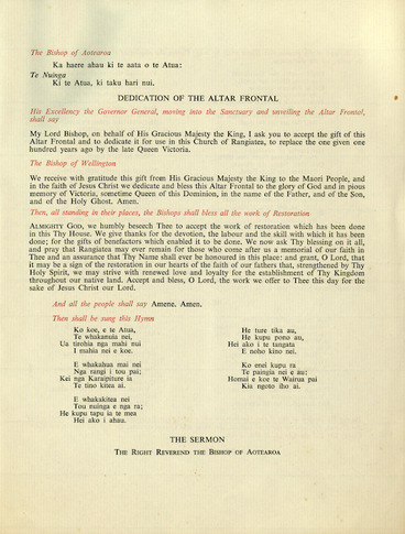 Image: Service of thanksgiving and benediction for the centenary and restoration of Rangiatea, 1848-1948. Otaki, at 11 a.m. on Saturday, 18 March 1950. Order of service. Page 5.