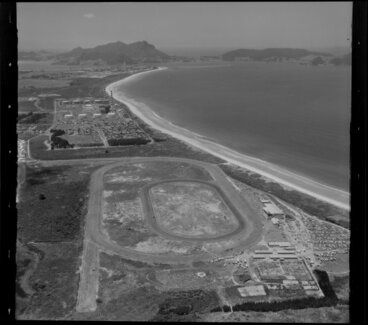 Image: Coastal view, Ruakaka, Whangarei District, Northland Region, featuring racecourse and Marsden Point Power Station