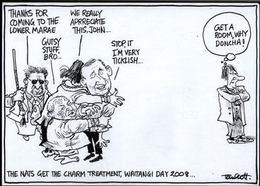 """Image: The Nats get the charm treatment, Waitangi Day 2008... """"Thanks for coming to the lower marae."""" """"Gutsy stuff, Bro..."""" """"We really appreciate this, John..."""" """"Stop it, I'm very ticklish..."""" """"Get a room, why doncha!"""" 8 February, 2008"""