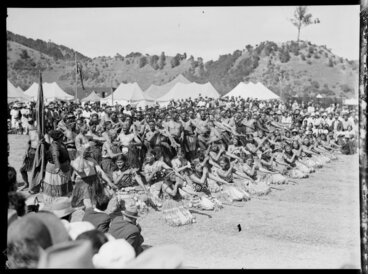 Image: Maori group performing an action song, Waikato
