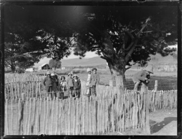 Image: Group of Māori children playing, Korohe marae