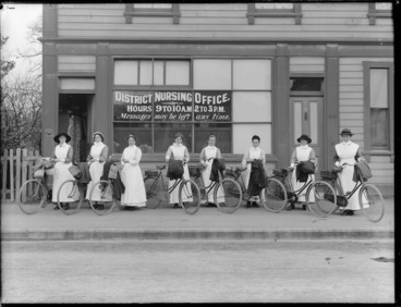 Image: District nurses, with their bicycles, outside South Durham St District Nursing Office, Christchurch