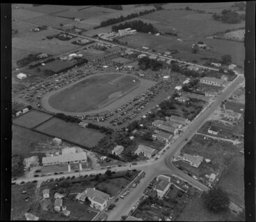 Image: Waipu, Whangarei District, Northland, showing people and cars at racecourse