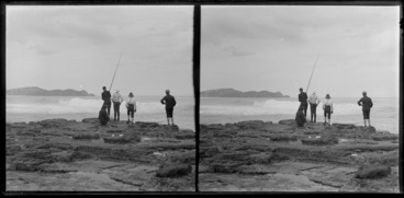 Image: Four boys, fishng off the rocks, Catlins, Otago