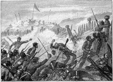 Image: Redmayne, Thomas, fl 1880s-1890s :Attack on the Maori Pah at Rangiriri. [1863]