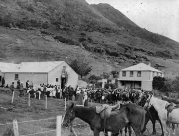 Image: Scene at Ahipara on Maori Land Court day showing W J Reid house on the right