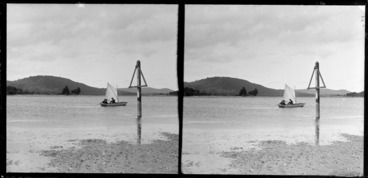 Image: Small sail boat on Catlins River [Lydia Myrtle Williams, Edgar Richar Williams, and Owen William Williams?], Clutha District, Otago Region