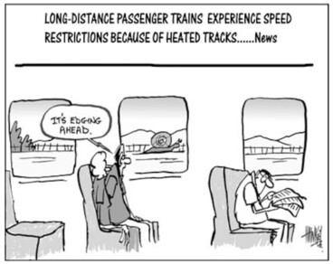 Image: Long distance passenger trains experience speed restrictions because of heated tracks.....News. 7 January, 2004.