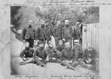 Image: Officers of the Colonial Defence Forces in Waikaremoana Expedition