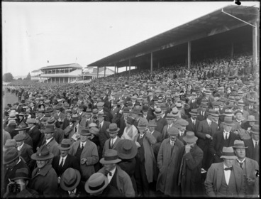Image: Spectators in the grandstands at Riccarton Racecourse, Christchurch