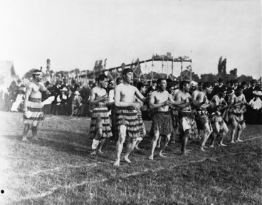 Image: Group performing a haka at the New Zealand and South Seas Exhibition (1906-1907), in Christchurch