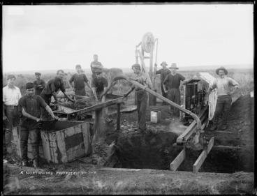 Image: Gum diggers washing kauri gum