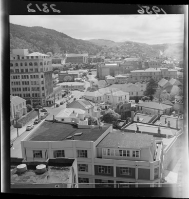Image: View from New Zealand Dairy Board building showing the start of The Terrace with Bowen Hospital, Alexander Turnbull Library and old Government House