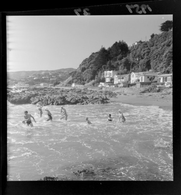 Image: Swimmers at Plimmerton beach, Porirua