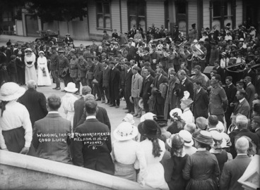 Image: Members of the NZEF 9th Reinforcement being addressed before leaving Nelson