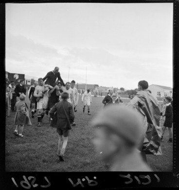 Image: All Black, Mr Bob Scott, riding on the shoulders of players after his last rugby union football game, Wellington