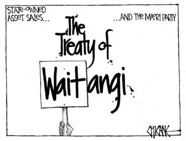 Image: Winter, Mark 1958- :The Treaty of Waitangi... 1 February 2012