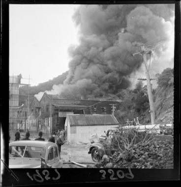 Image: Fire at CMC factory, Ngauranga, Wellington