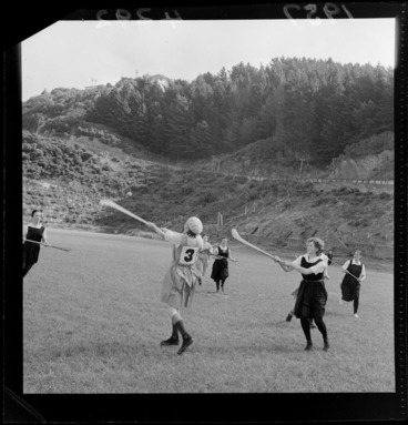 Image: Irish women playing a camogie game at an unidentified sportsground, Wellington