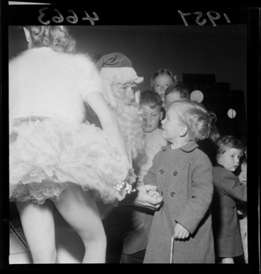 Image: Children with Santa Claus at Kirkcaldies and Stains, Wellington
